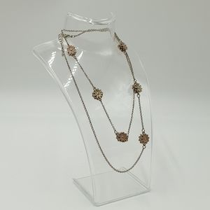 Silver Tone Long Chain Flower Metal Bead Link Long Necklace